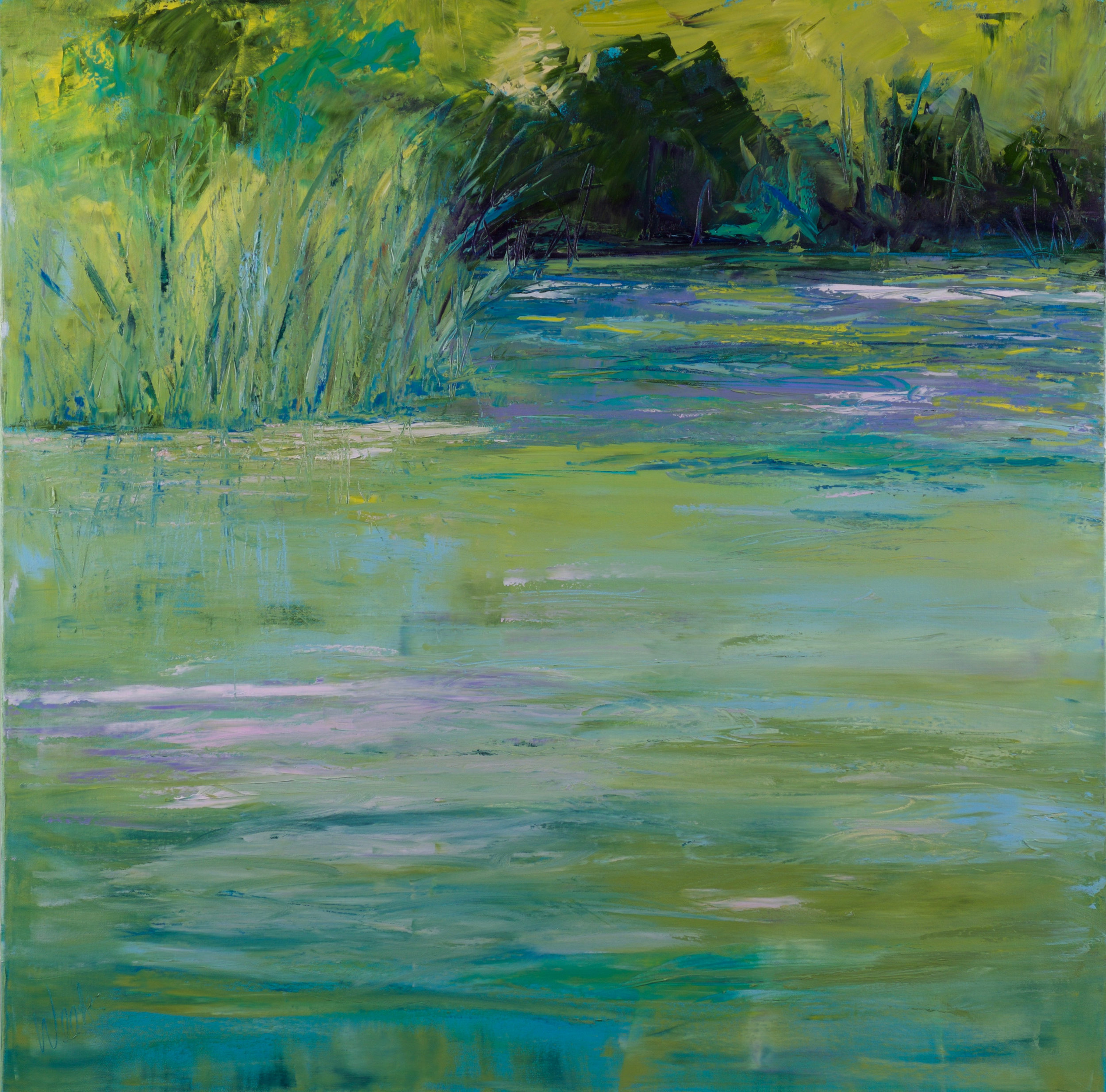 """A Visit to Monet's Pond"" - 36 x 36 inch"