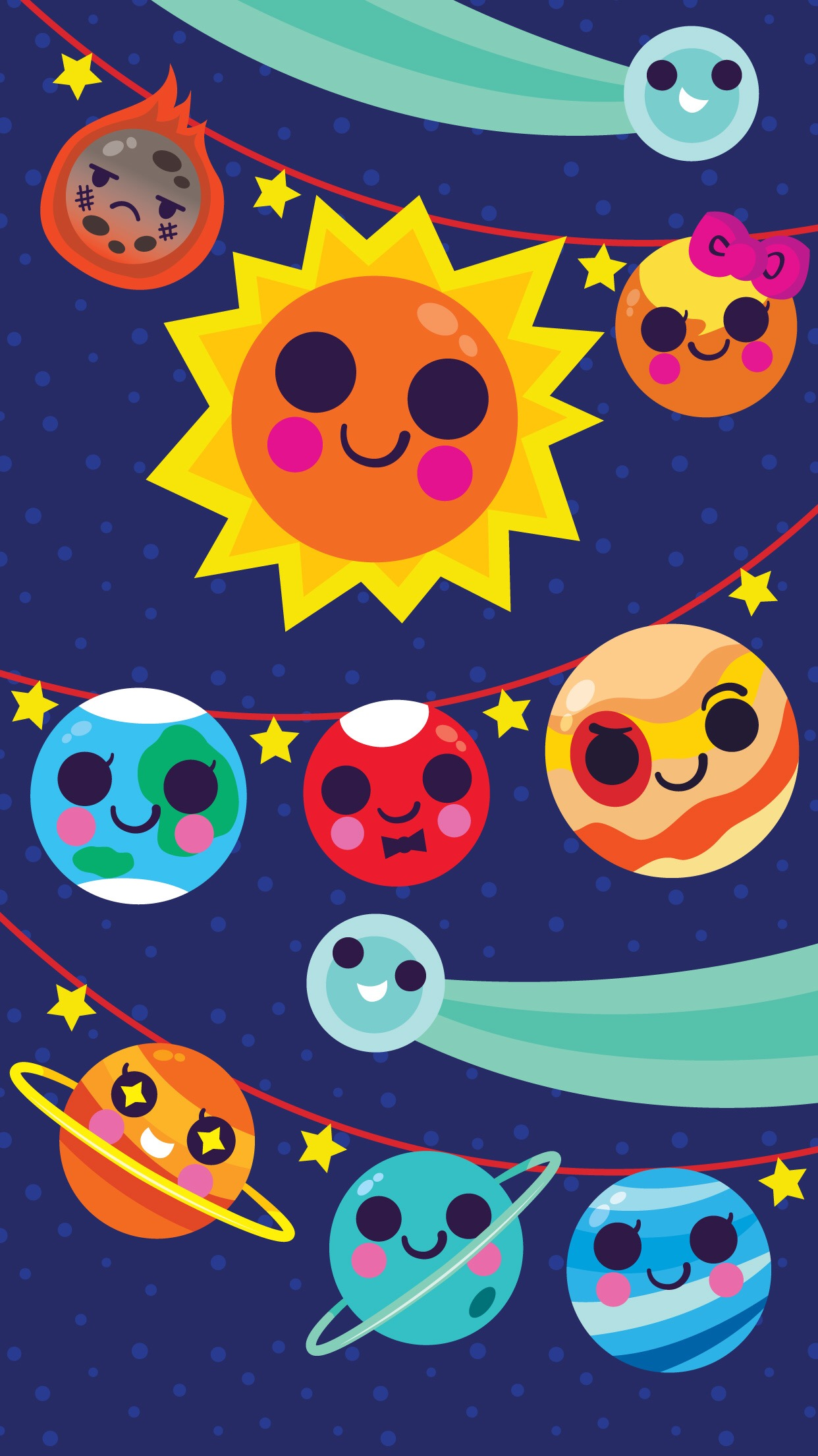Space Holiday Garland Wallpaper