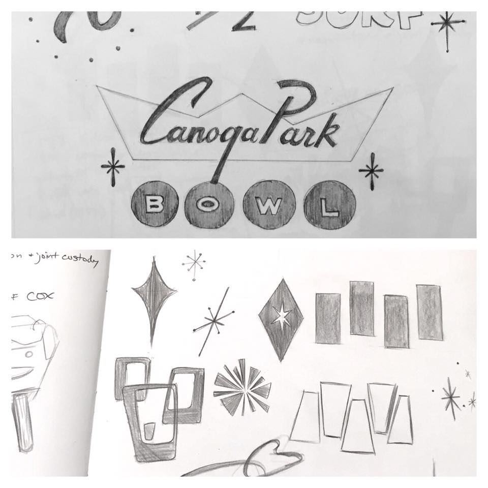 50's type and design element studies. Copying out of some books to get the feel for the 50's designs for an assignment I'm working on.