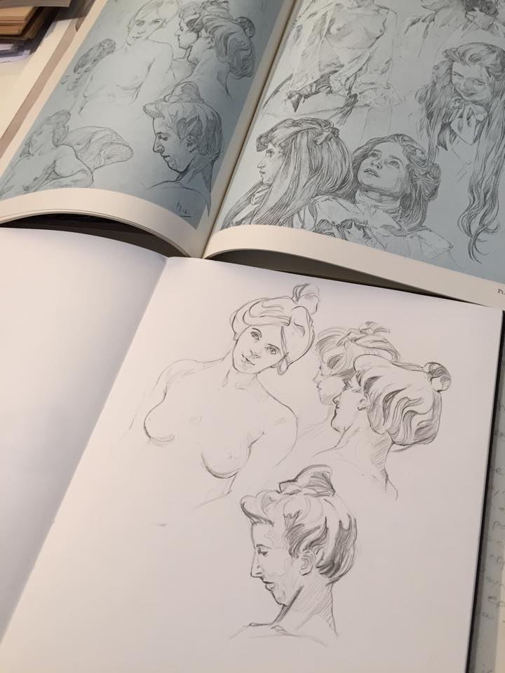 Mucha sketch studies. Super soft lines! Ahh!