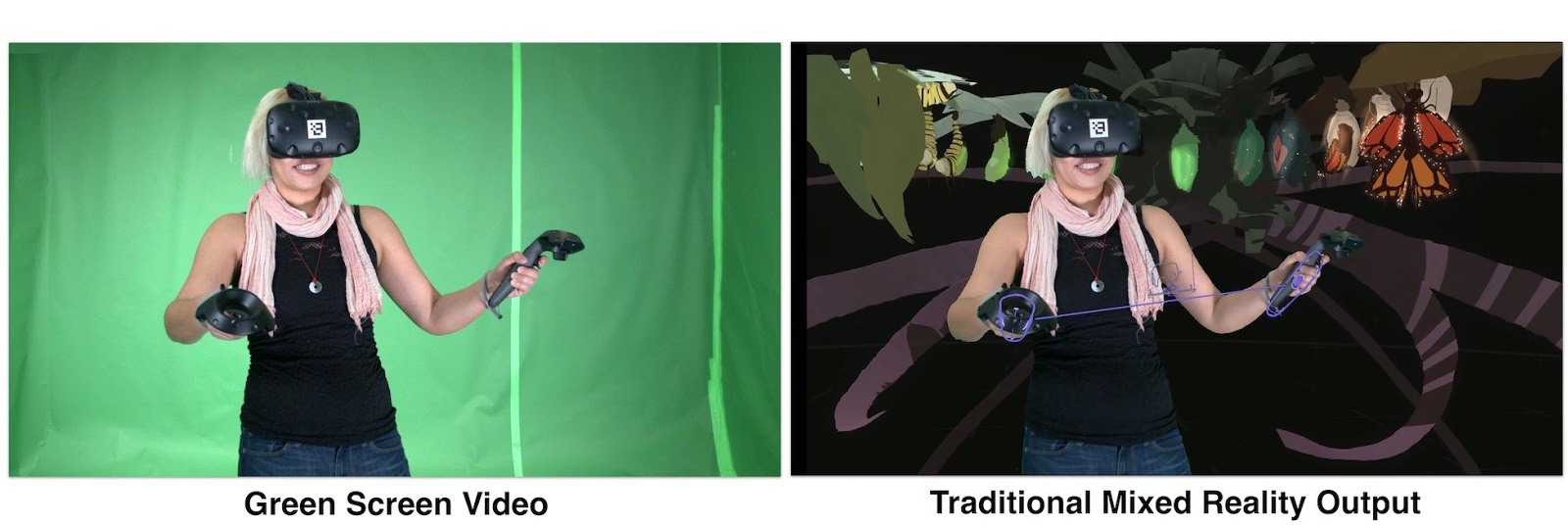 "This is an example of what a ""Mixed Reality"" shoot looks like. On the LEFT: This is what I look like during the shoot. I'm in a green screen room, I have a VR headset on. There is a 3rd-person camera recording me. On the RIGHT: there are apps that take the 3rd-person camera content + my VR content and outputs this view of me & my VR creation. (These photos are from the  Google Research blog  in the 'Headset Removal' experiment.)"