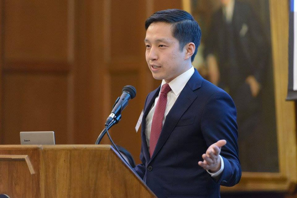 John He, President of APALSA '16-'17, at APALSA's 2017  Origins  Banquet.