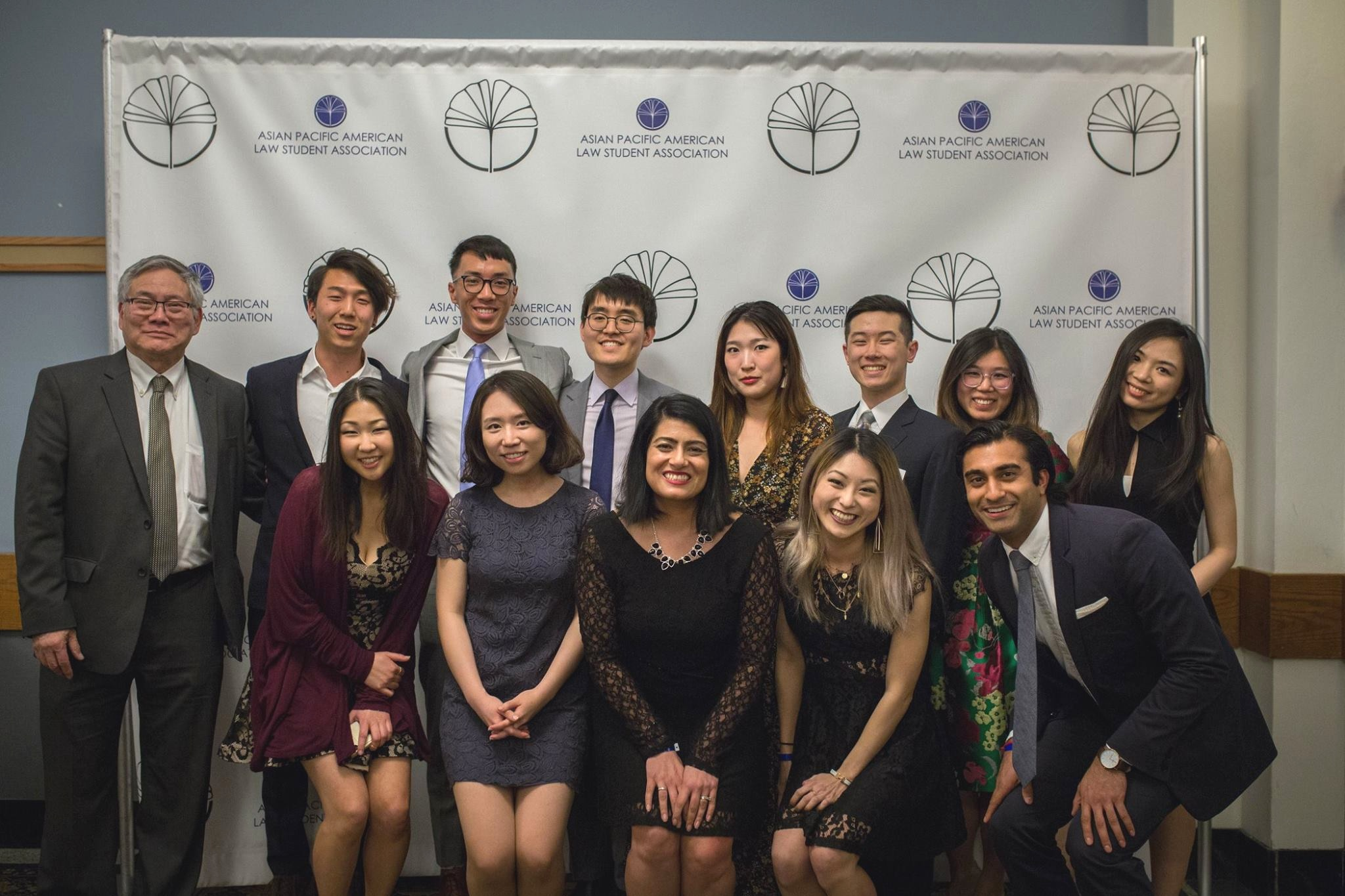 The Executive Board from 2017-2018 pictured with keynote speaker Professor Roland Hwang and Origins Banquet Founder Reena Bajowala '05 at the 2018 Origins Banquet.