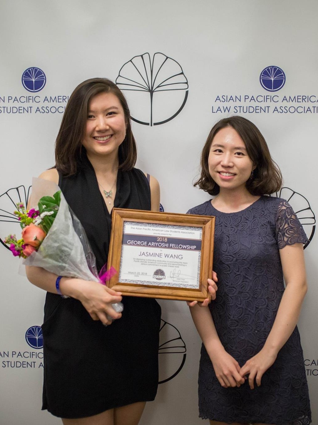 Jasmine Wang, the 2018 recipient of the George Ariyoshi 1L Public Interest Fellowship, pictured with Ginny Lee, the 2017 recipient.