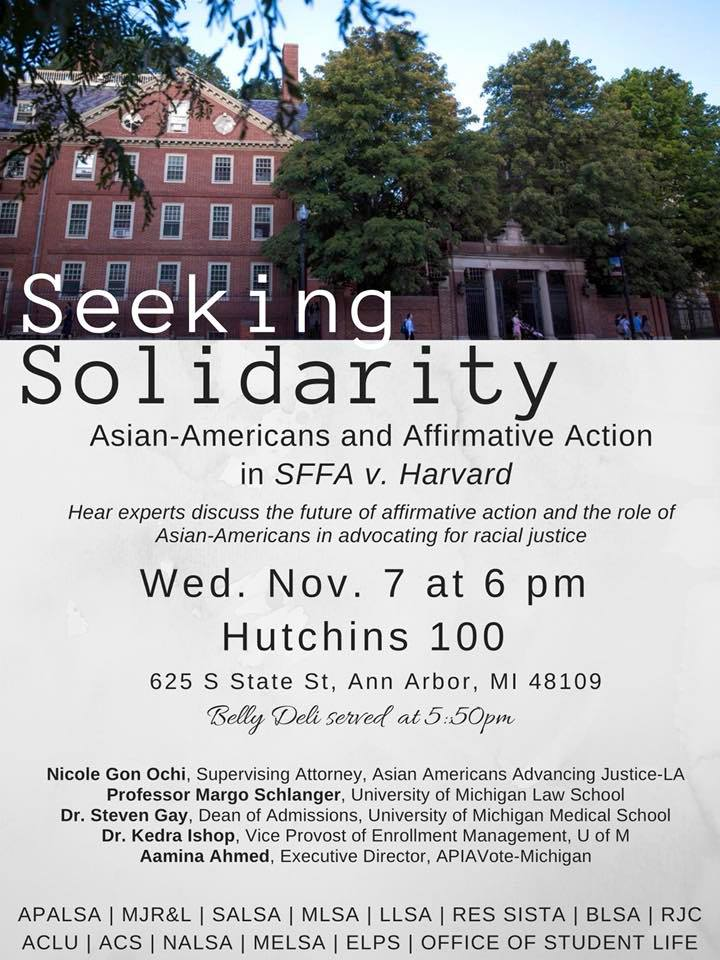 "Seeking Solidarity: Affirmative Action After SFFA v. Harvard - Check back soon for the video recording from November 7, 2018's ""Seeking Solidarity"" panel."