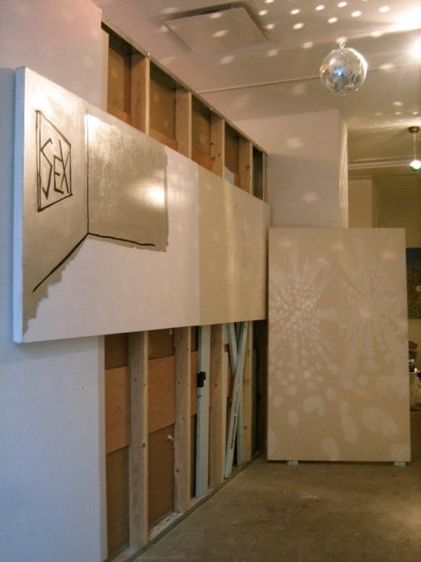 Installation view. (l)  Like I Love You,  (r)  DJ Purity