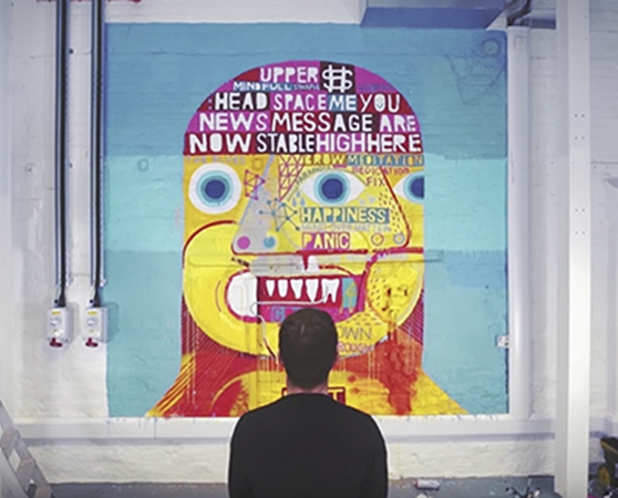 'Happy Mess' interior mural, 2017