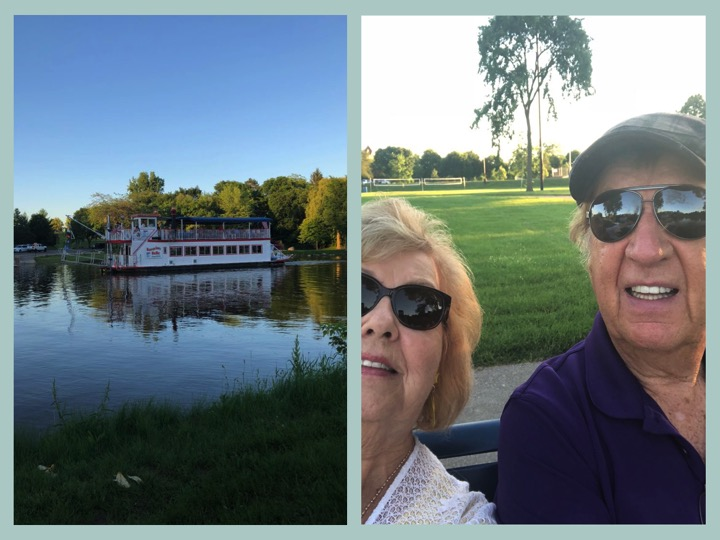 We are not good at selfies, but here we are beside the Cass River in Frankenmuth.