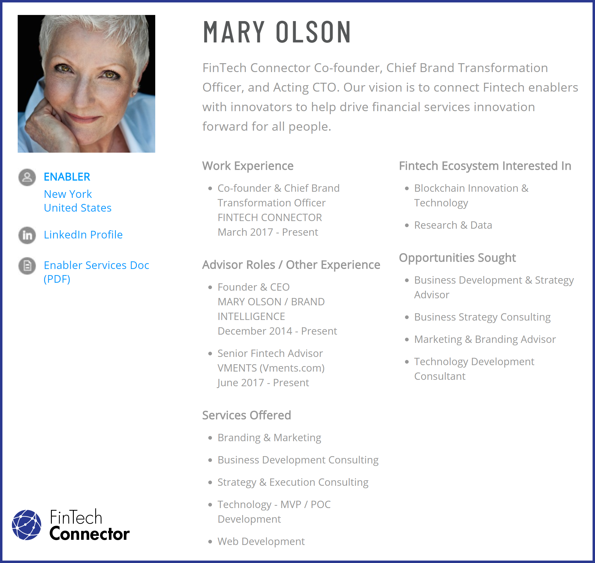 Connect with Mary Olson via FinTech Connector