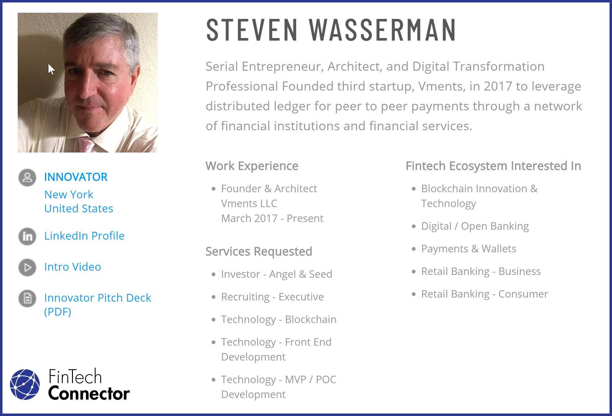 Connect with Steve Wasserman via FinTech Connector