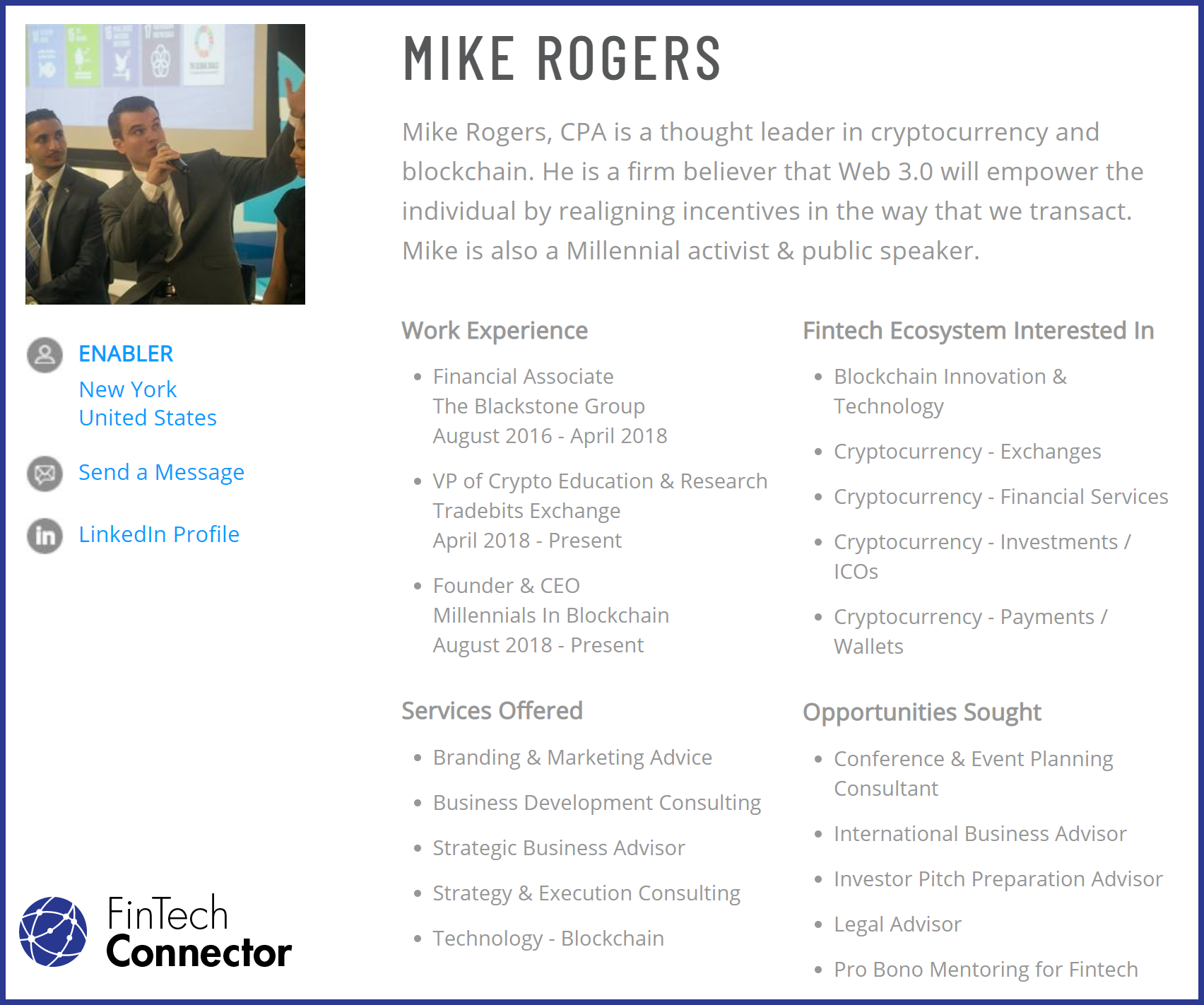 Connect with Mike Rogers via FinTech Connector