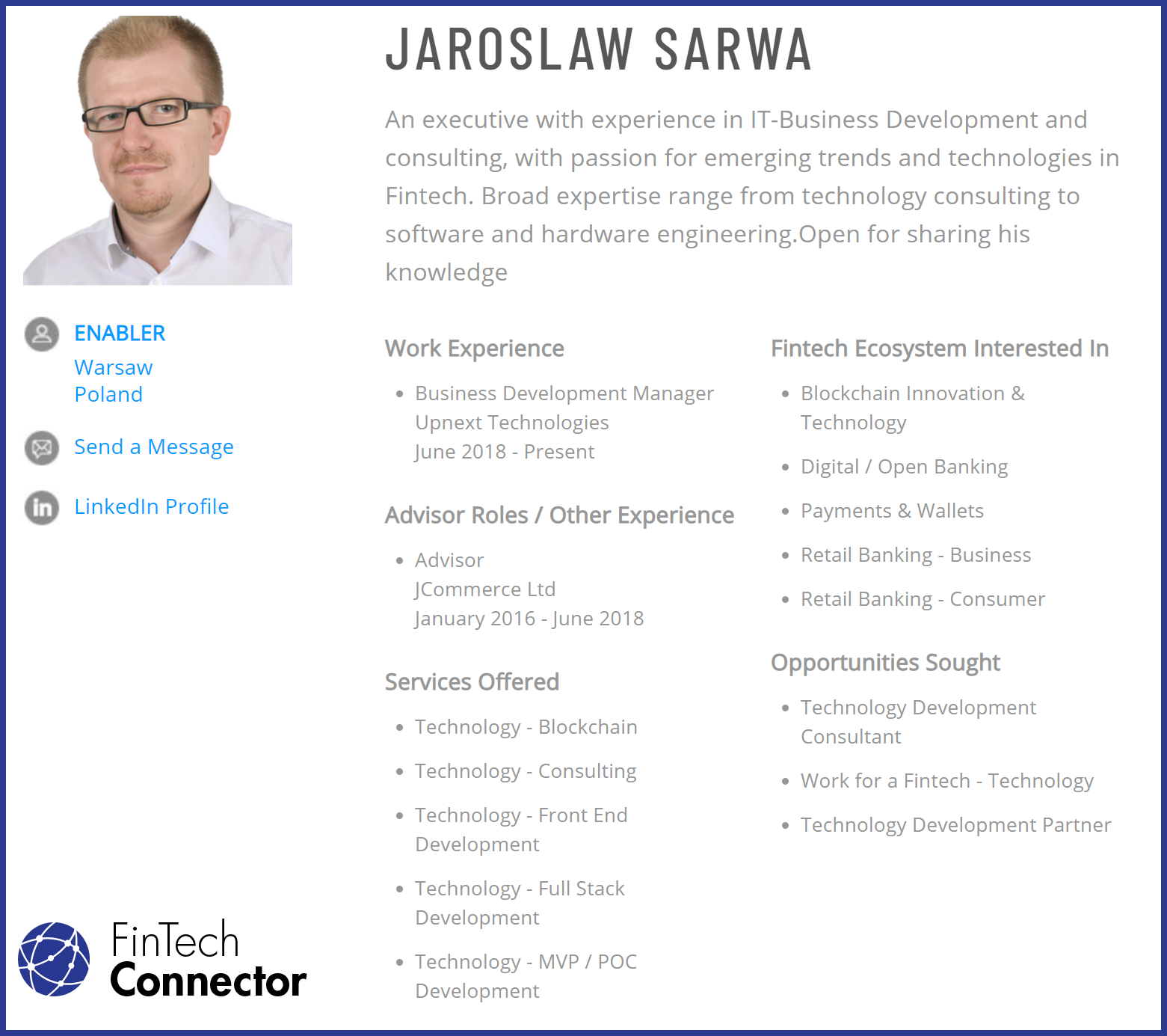Connect with Jaroslaw Sarwa via FinTech Connector
