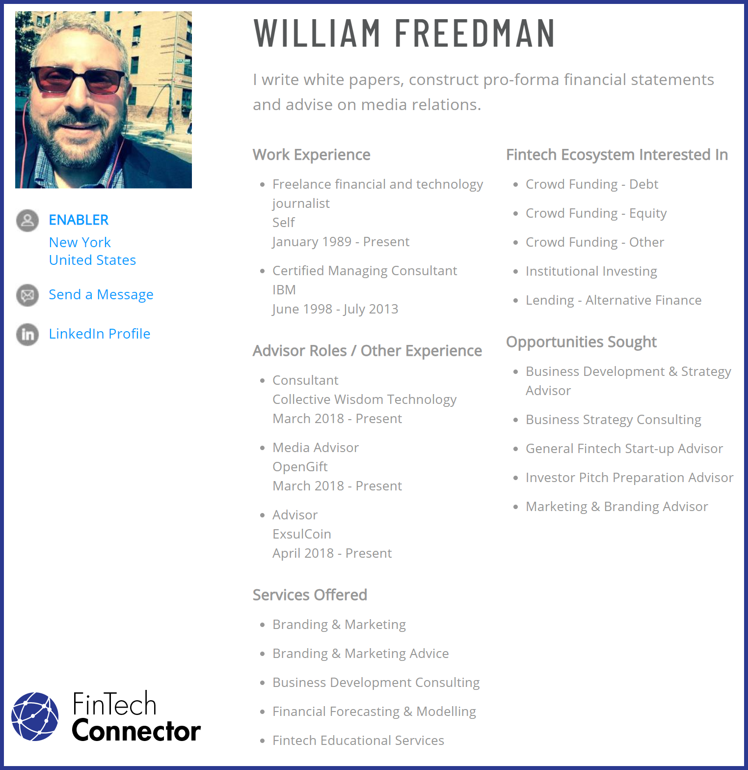 Connect with William Freedman via FinTech Connector