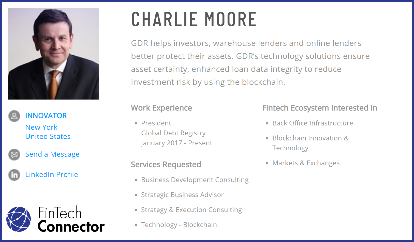 Connect with Charlie Moore via FinTech Connector