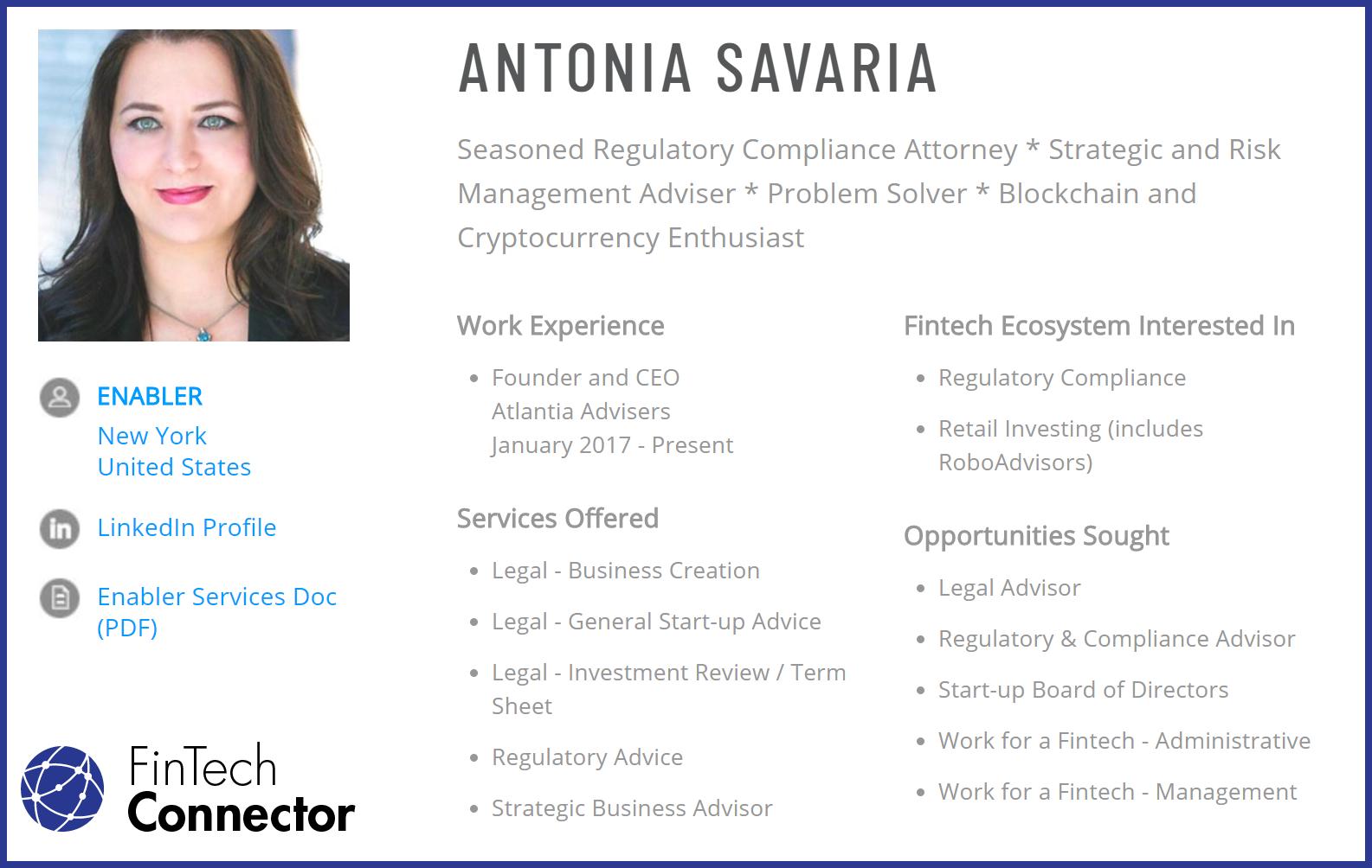 Connect with Antonia Savaria via FinTech Connector