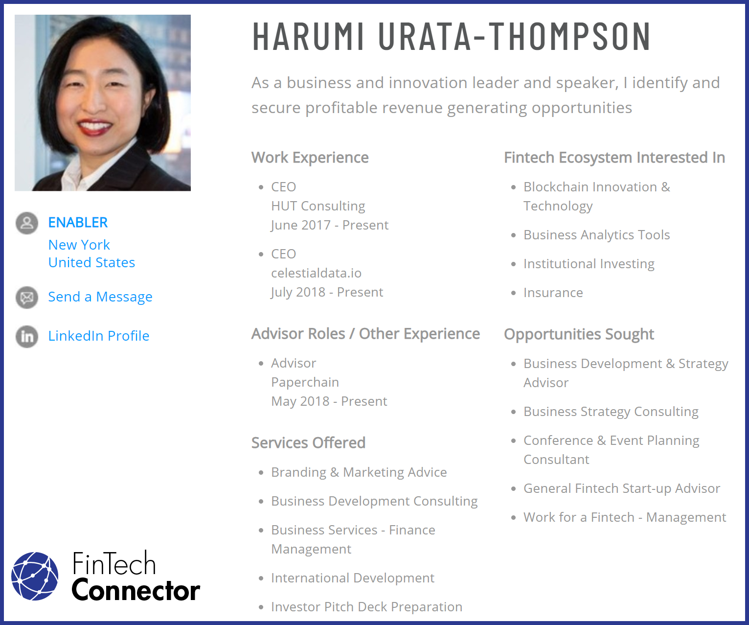 Connect with Harumi Urata-Thompson via FinTech Connector