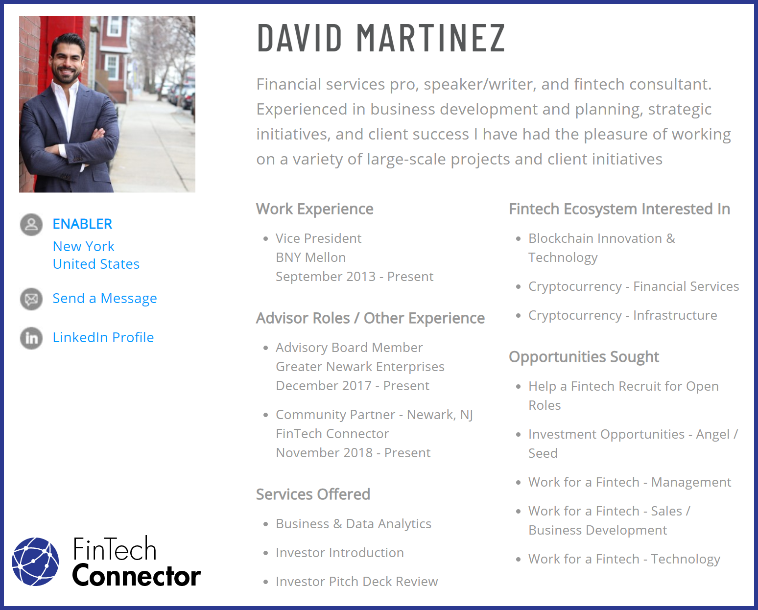 Connect with David Martinez via FinTech Connector