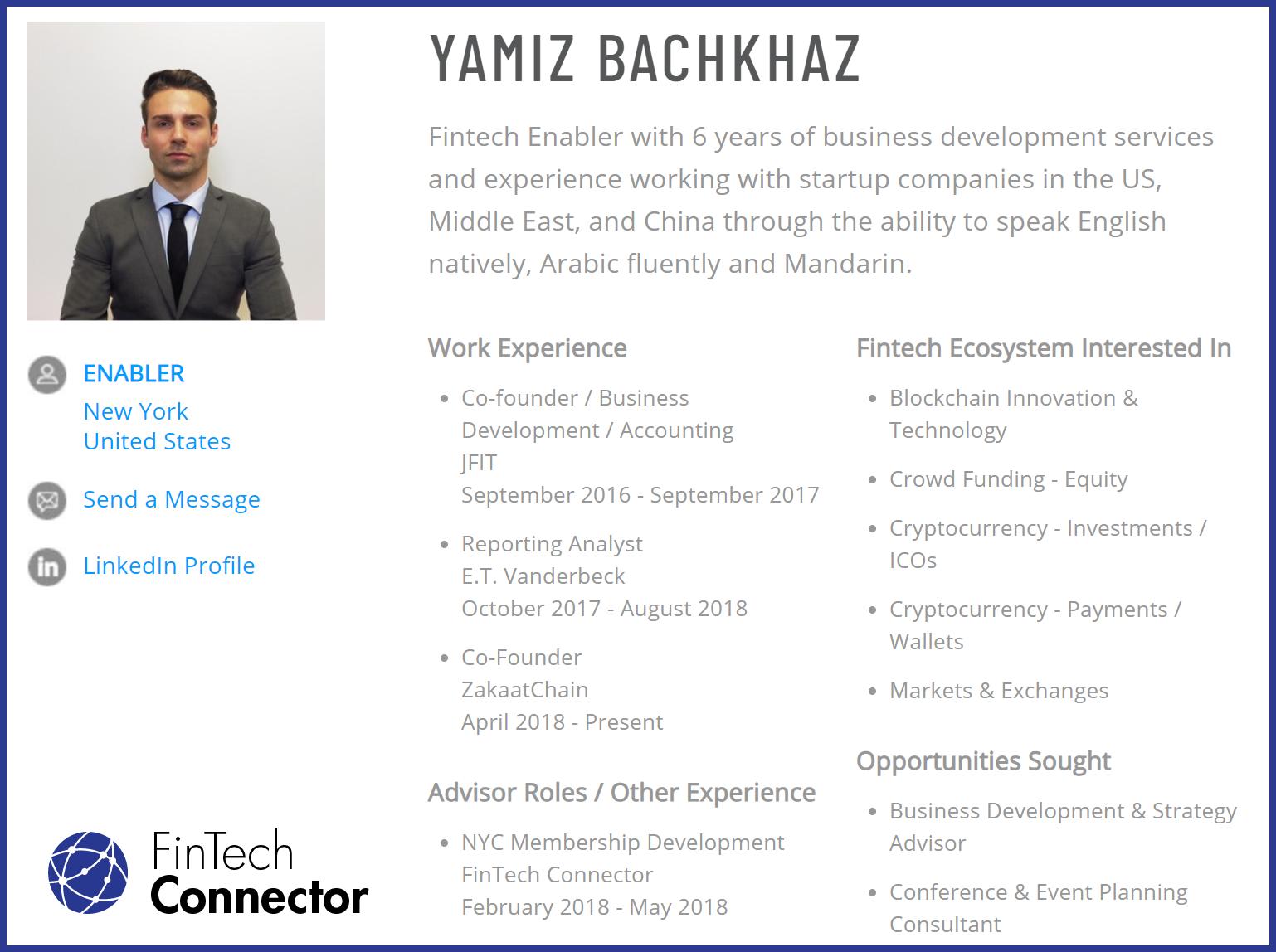 Connect with Yamiz Bachkhaz via FinTech Connector