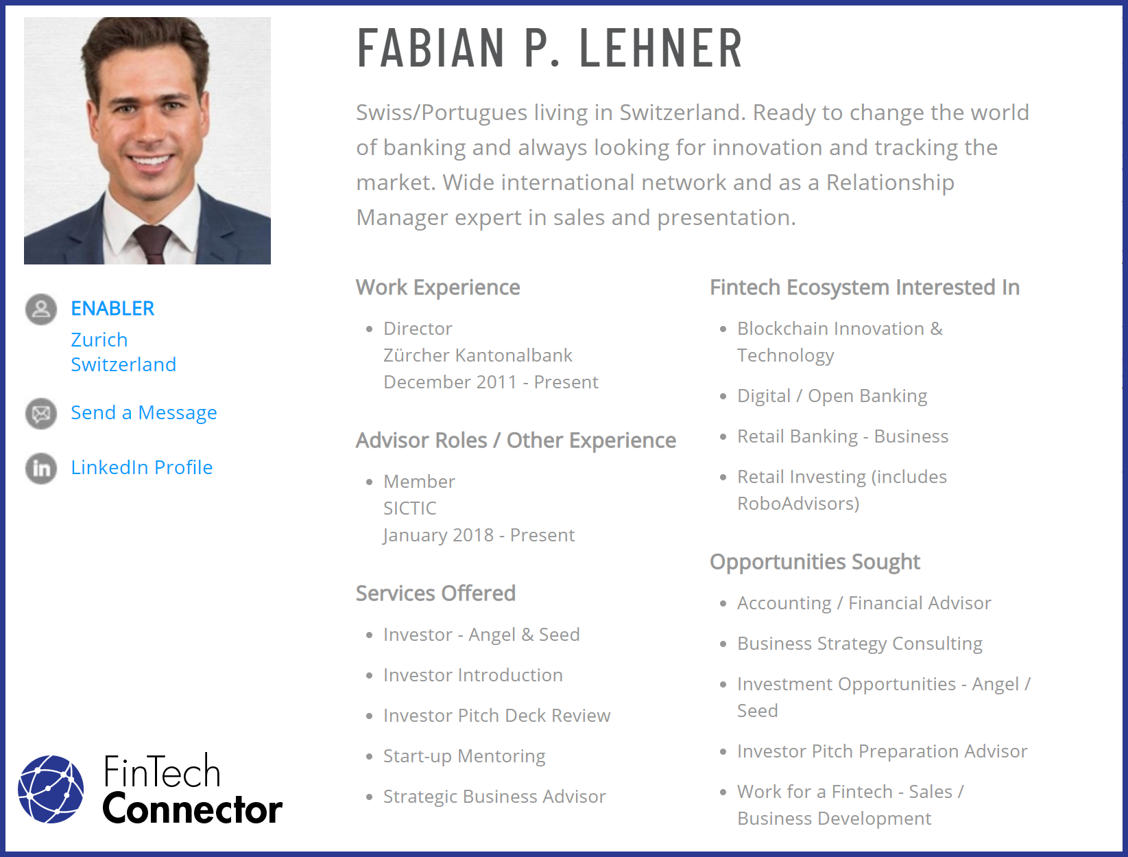 Connect with Fabian Lehner via FinTech Connector