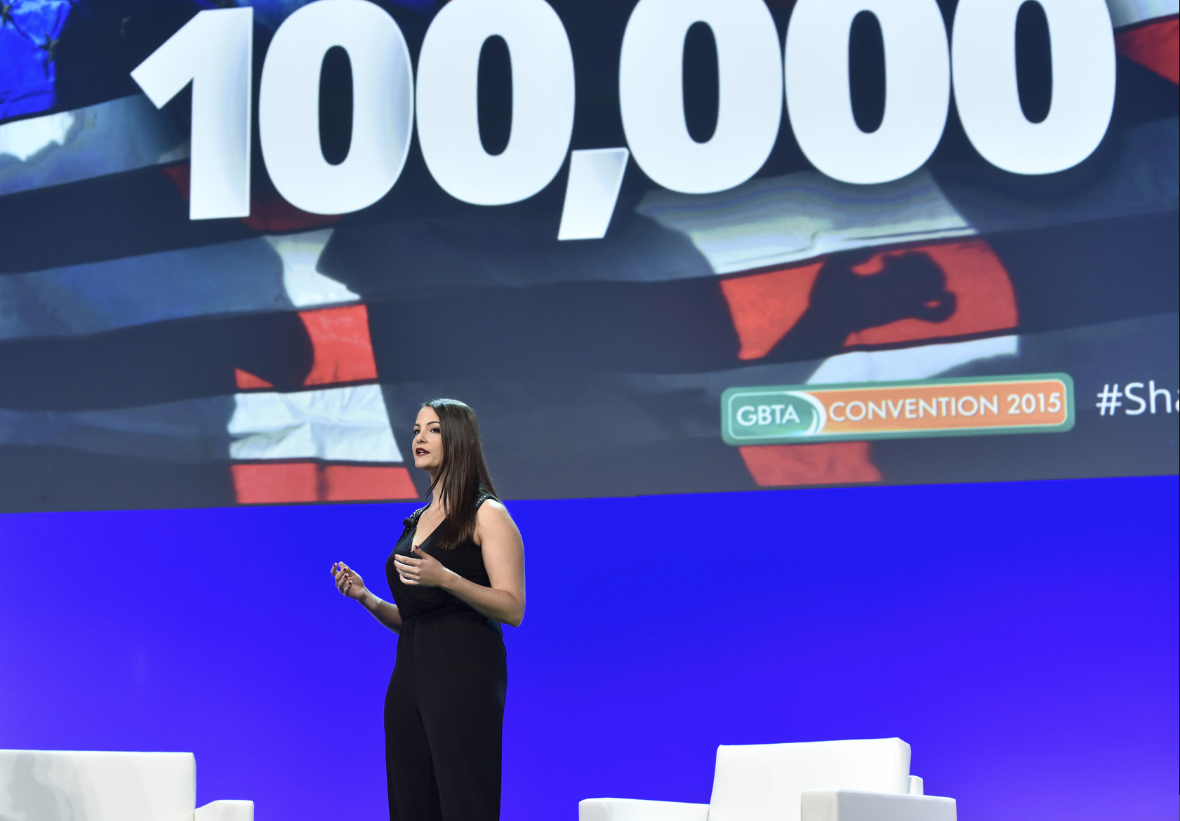 ECPAT-USA's Director of Private Sector Engagement, Michelle Guelbart, on the main stage at GBTA 2015.