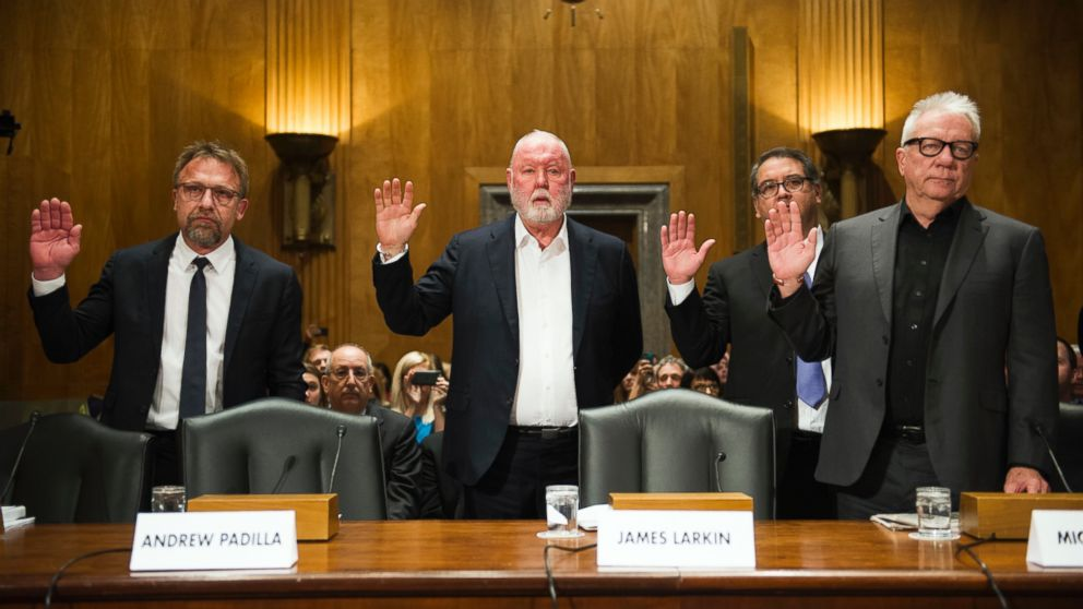 From left, Backpage.com Chief Executive Carl Ferrer, former owner James Larkin, Chief Operating Officer Andrew Padilla and former owner Michael Lacey. (Photo:  ABC News )