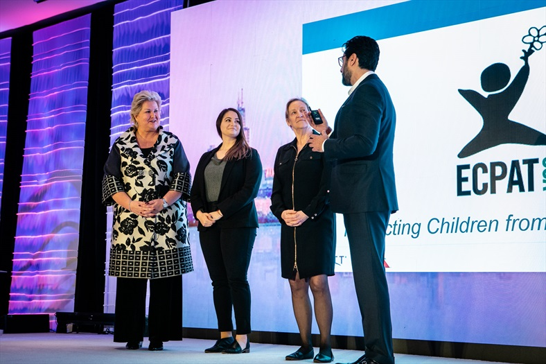 From left: Alison Taylor, American Airlines Senior Vice President of Global Sales and Distribution, Michelle Guelbart, ECPAT-USA Director of Private Sector Engagement, Carol Smolenski, ECPAT-USA Executive Director, and Asad Ahmed, Hyatt Hotels Senior Vice President of Sales