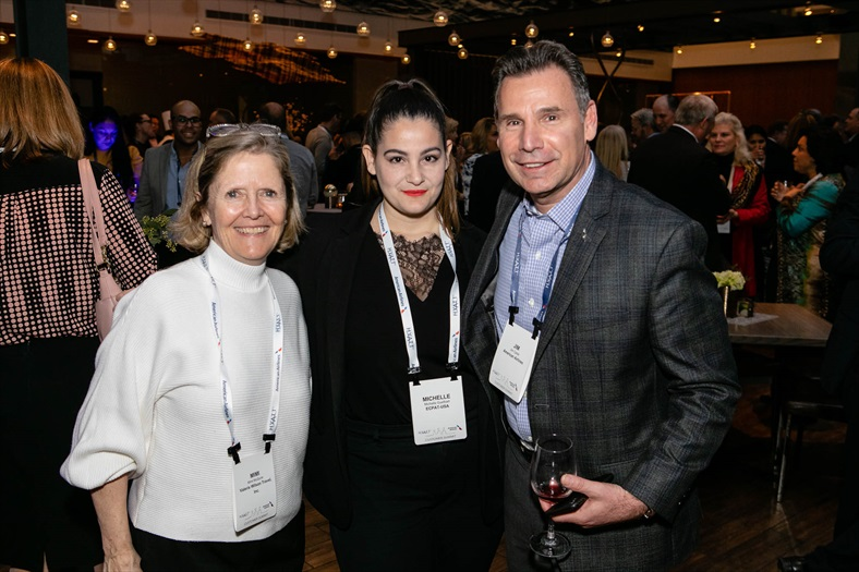 From left, Mimi McGuire, Valerie Wilson Travel Director of Airline Relations, Michelle Guelbart, ECPAT-USA Director of Private Sector Engagement, and Jim Carter, American Airlines Managing Director - Eastern Sales Division