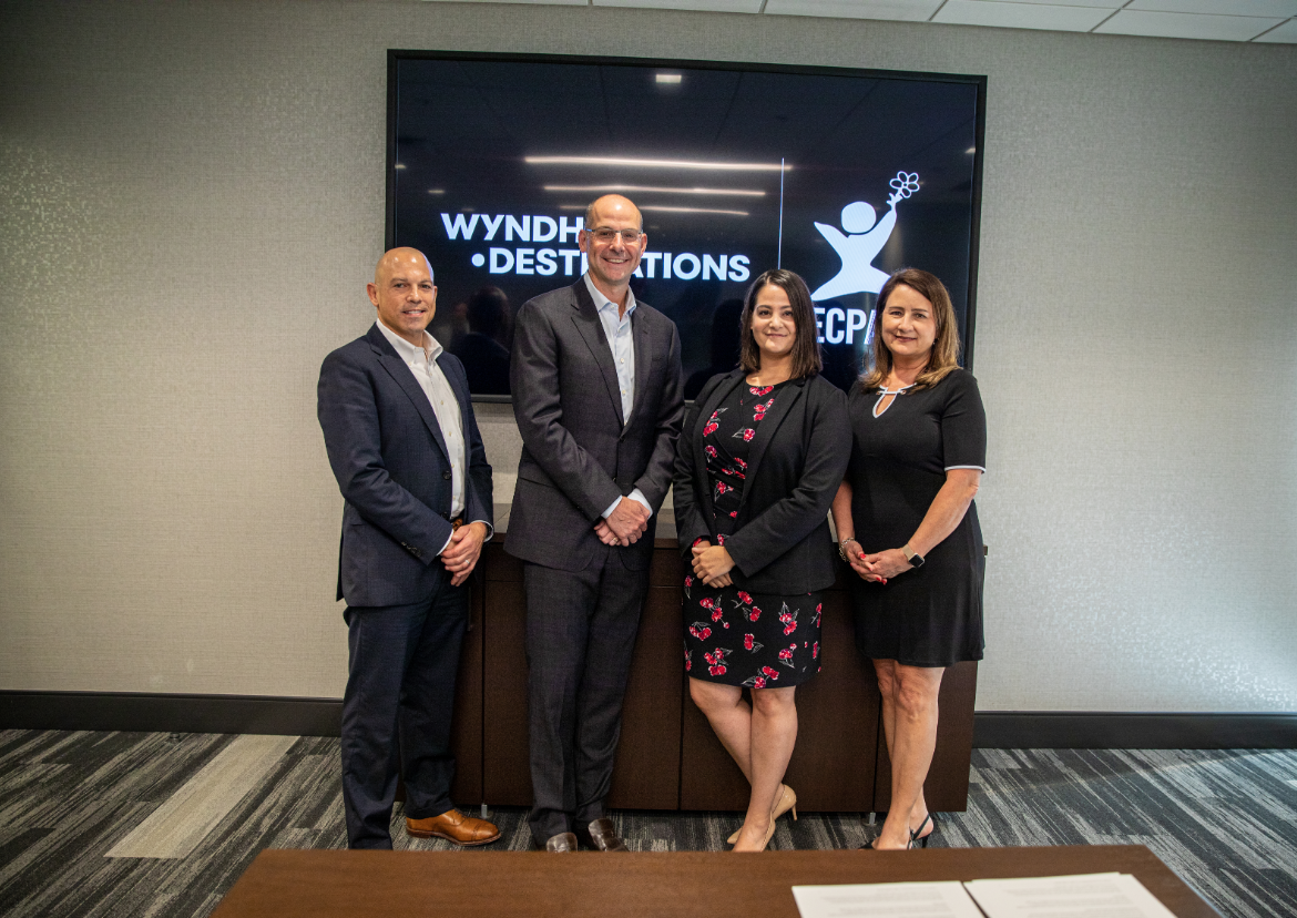 James Savina, Executive Vice President and General Counsel for Wyndham Destinations, from left, Michael D. Brown President & Chief Executive Officer (CEO) for Wyndham Destinations, Michelle Guelbart, Director of Private Sector Engagement at ECPAT-USA, Kimberly Marshall, Chief Human Resources Officer for Wyndham Destinations