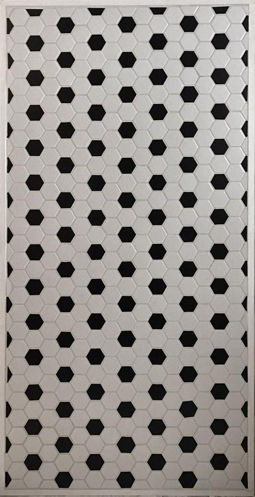 "B&W Hex Tile - 30"" x 58"" - $100"