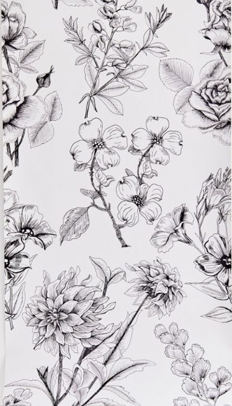 Etched Floral wallpaper