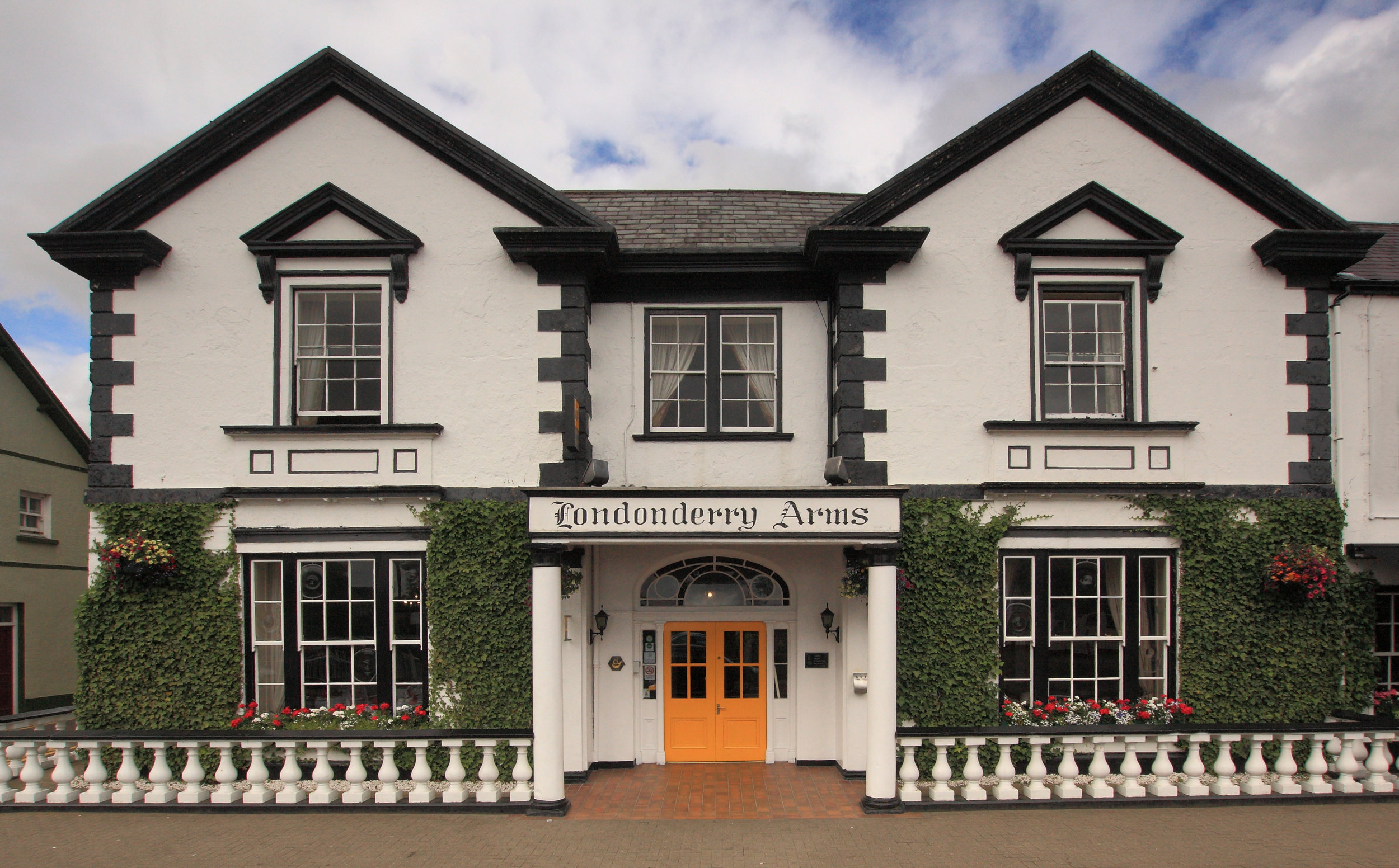 LONDONDERRY ARMS HOTEL - CARNLOUGH, COUNTY ANTRIM - Located in the picturesque Glens of Antrim in the coastal village of Carnlough, this former Coaching Inn, once owned by Winston Churchill, is filled with fascinating history and charm.