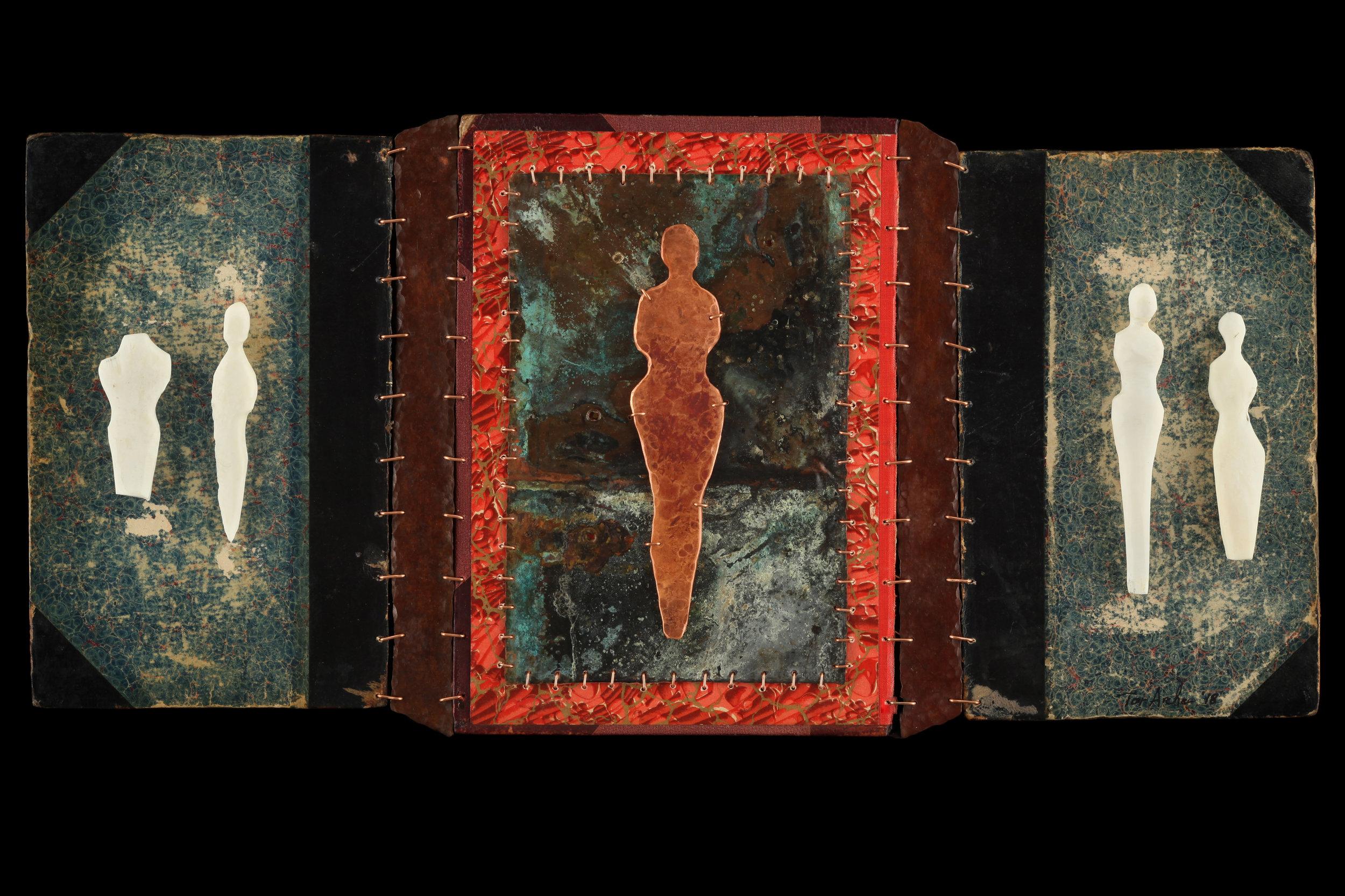 """2018  Copper, Bone, Book Covers  10.5""""x22"""""""