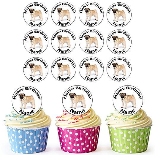 Edible Pug Cupcake Topper