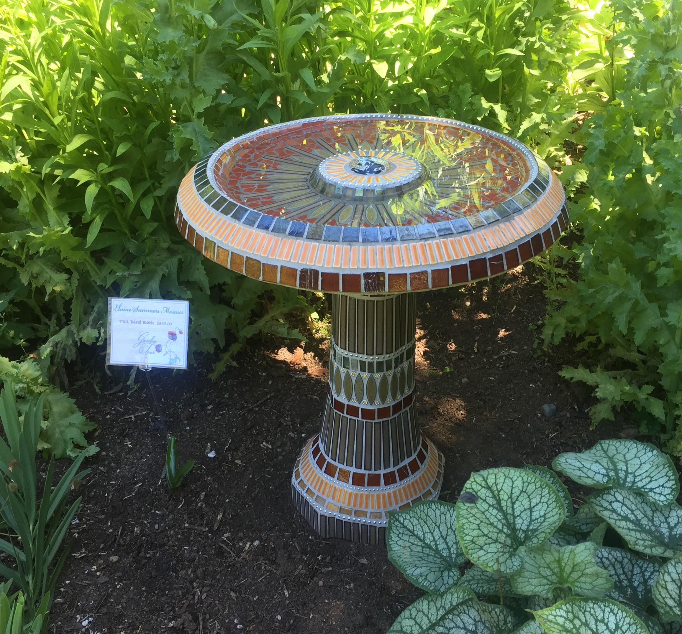Mosaic Bird Bath, Currently For Sale