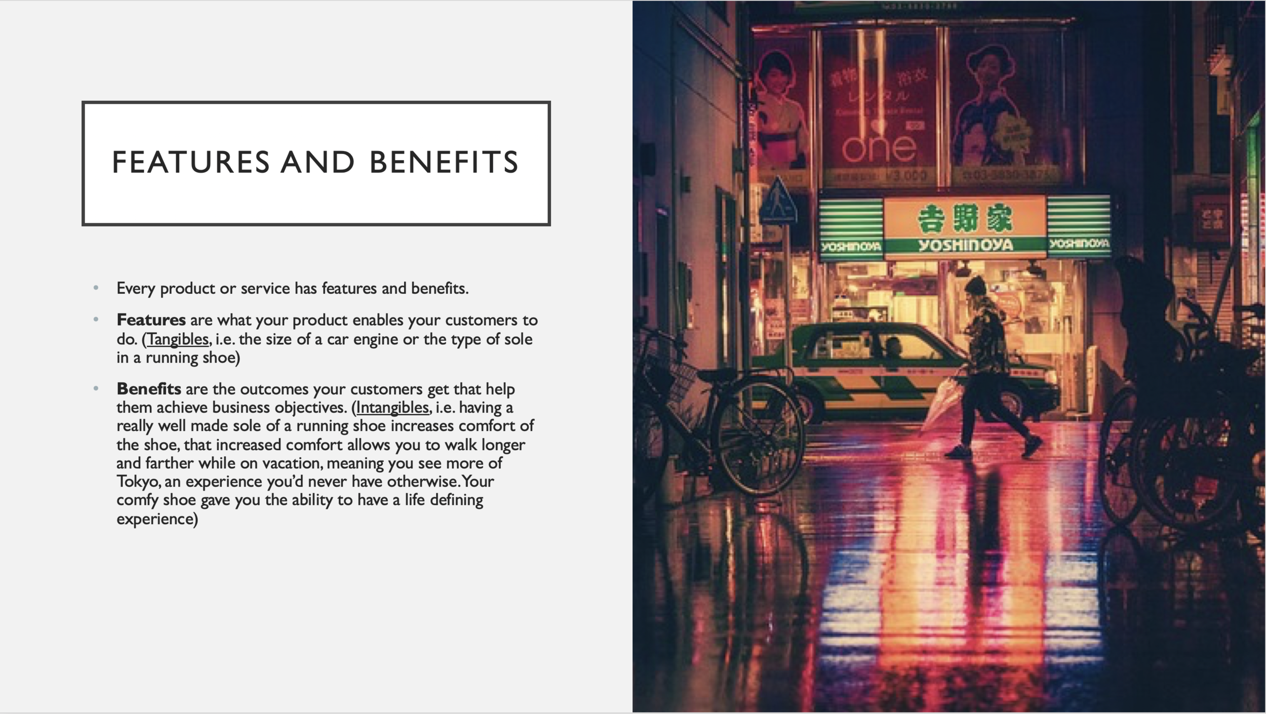 Features and Benefits Slide