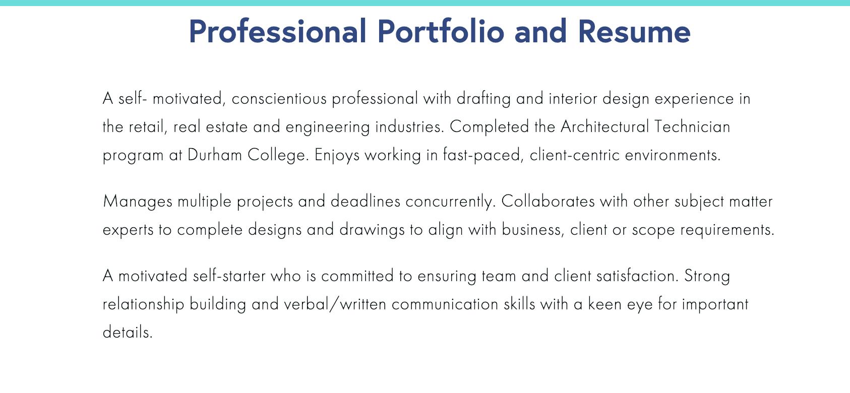 Professional Portfolio Summary