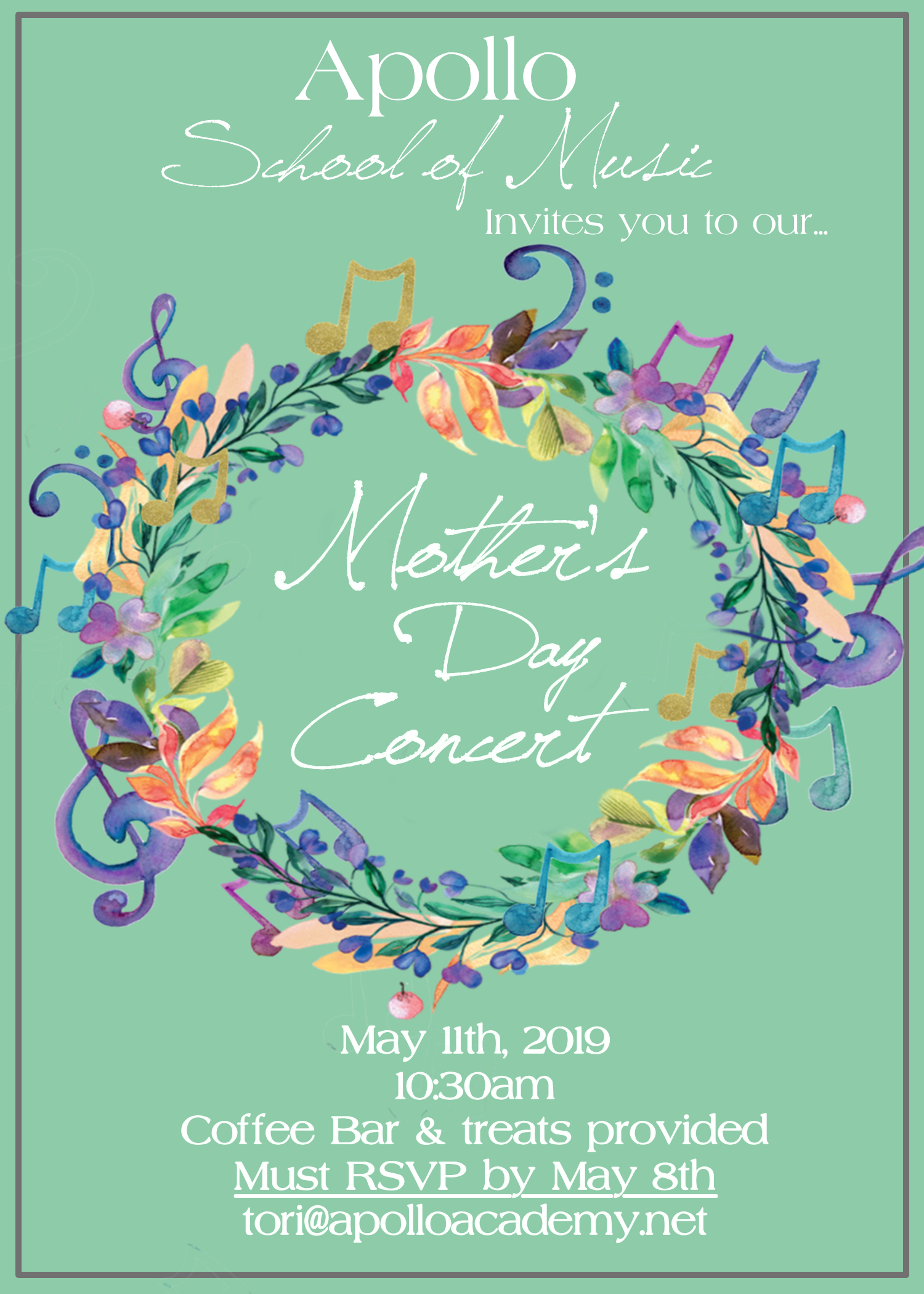 Apollo invites allMothers of chico to our... MOTHERS DAY CONCERT! - Come enjoy Coffee(provided by Chico Coffee Co.)& breakfast pastries while listeningto the performances byour wonderful students 10:30am-Noon