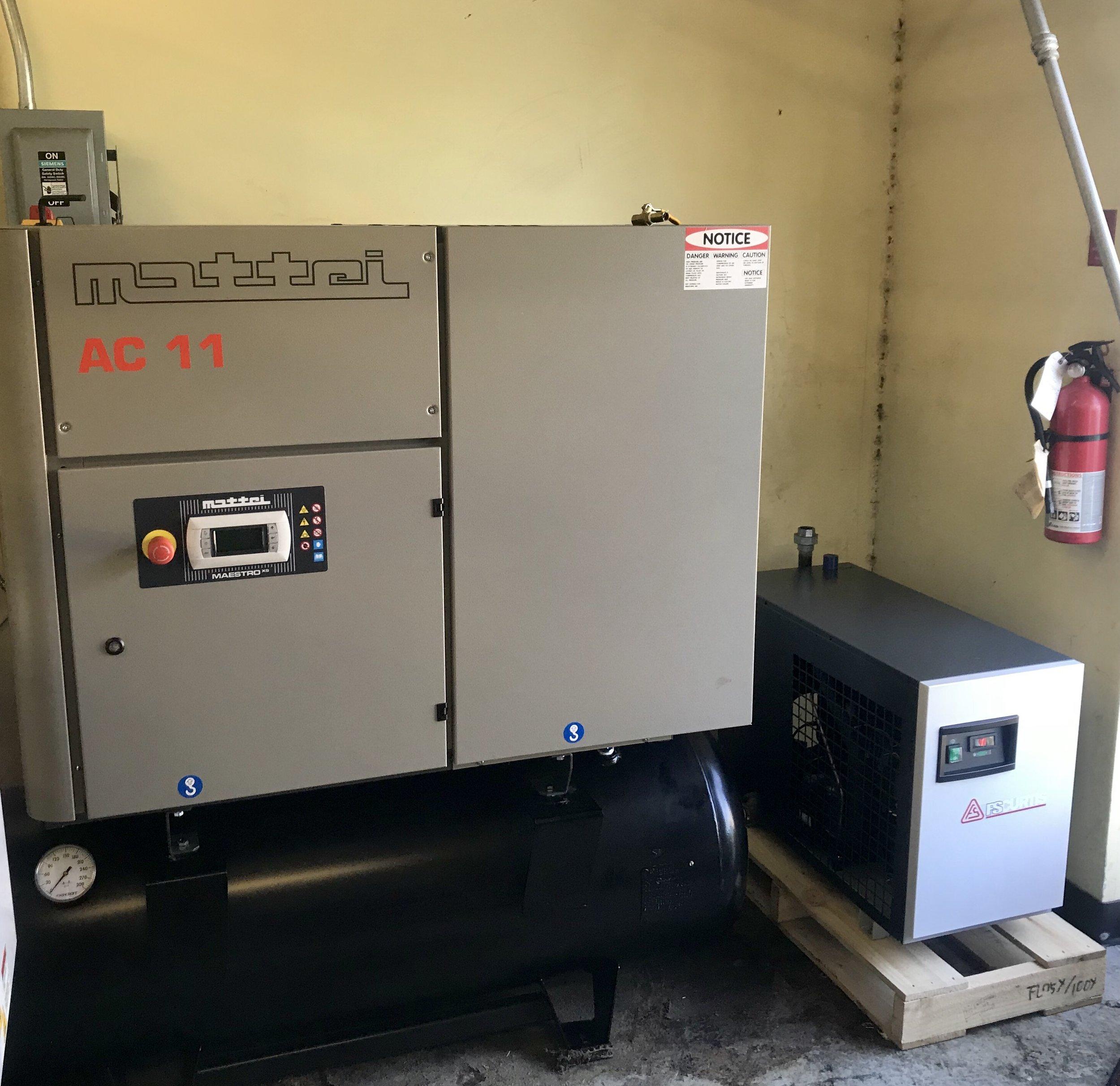 15 Horsepower Mattei air compressor and FS Curtis air dryer