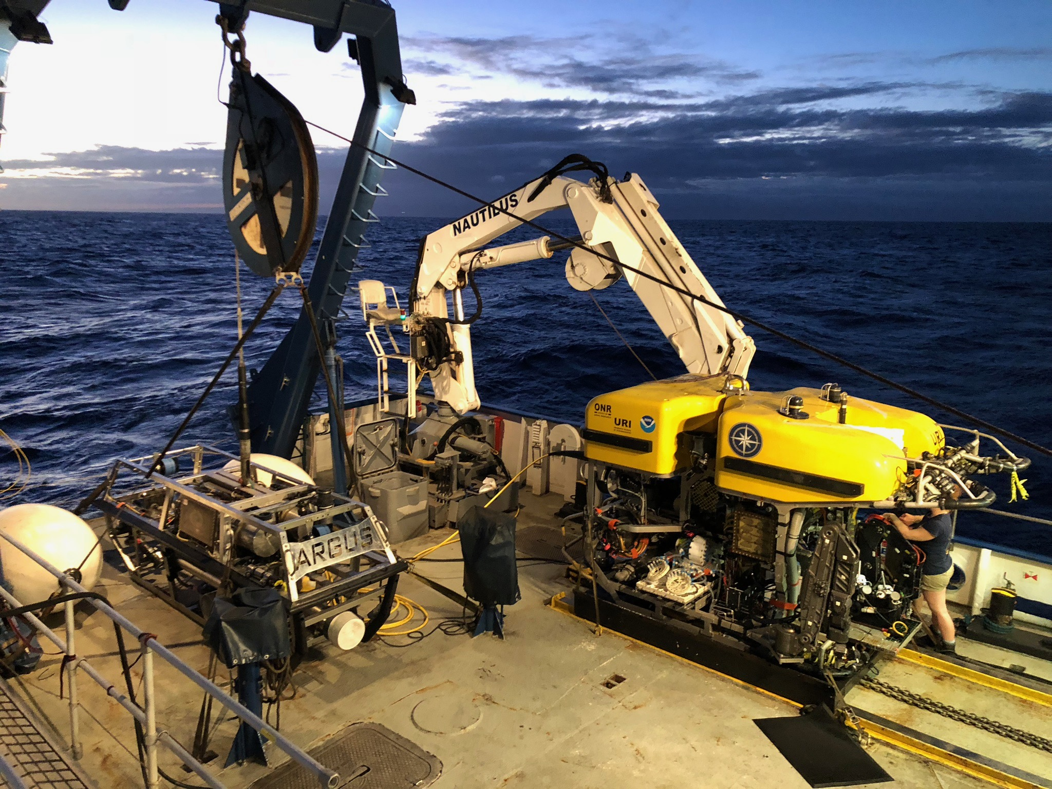 ROVs Hercules (bigger, yellow one) and Argus (smaller, silver one) on the E/V Nautilus