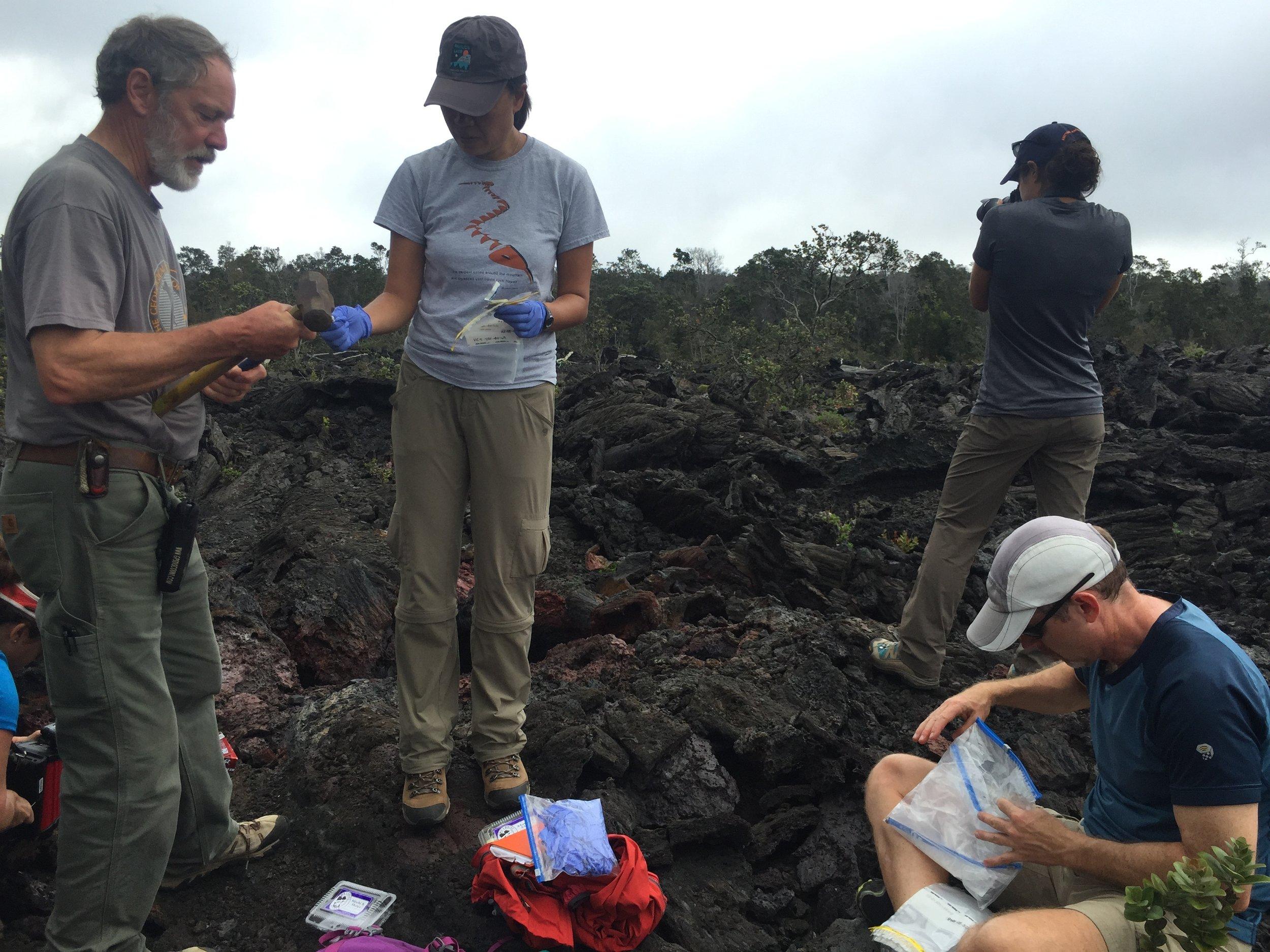 Field sampling in Mauna Ulu region of Hawai'i with Scott Hughes, Kara Beaton and Steve Chappell