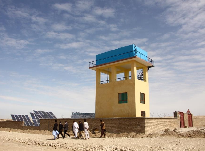 PHASE 1 - 600 feet deep,100 foot high water reservoir. Holds over 50,000 L's. Total of three, 3 kWh-20 panel solar panels providing power to pump water.Serves over 500 families.