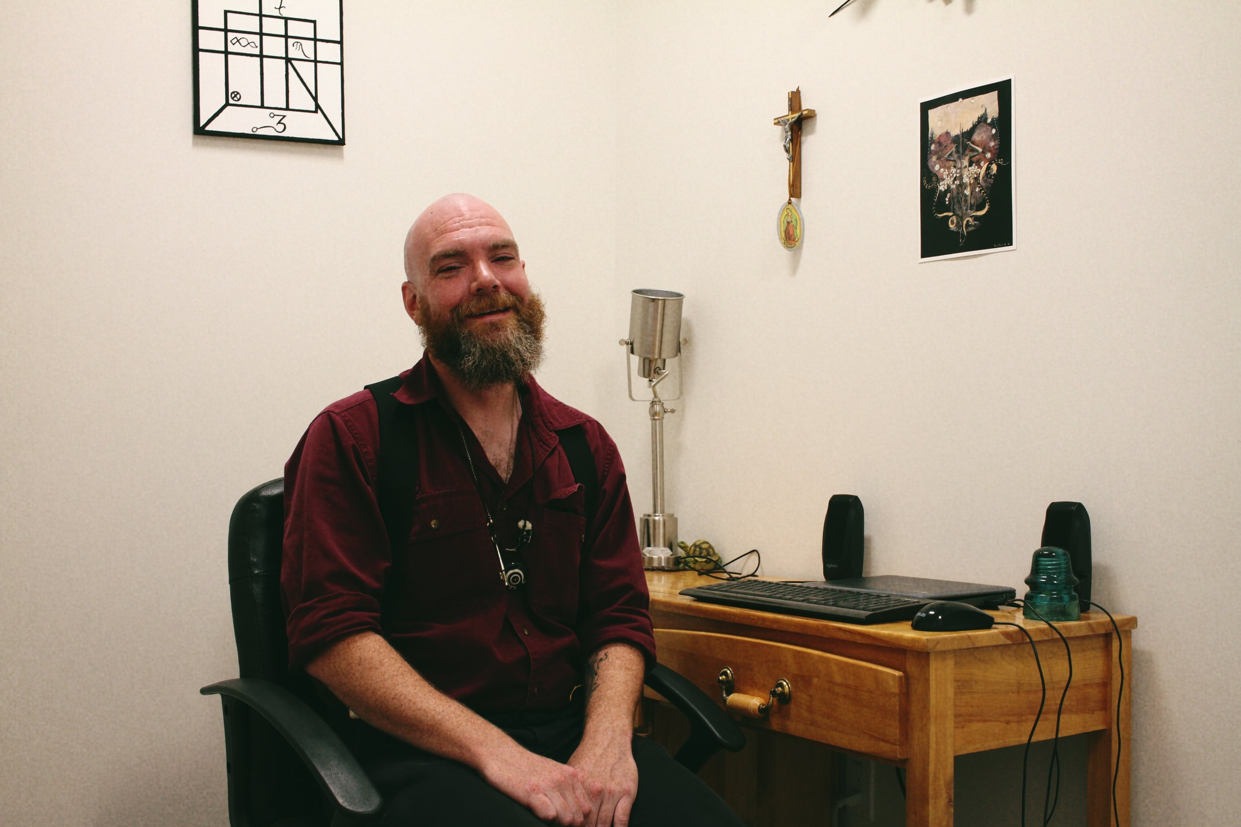 Greg Everett's office at the Charlotte Street Arts Centre is where he wrote his newest play, GULLYWHUMP.