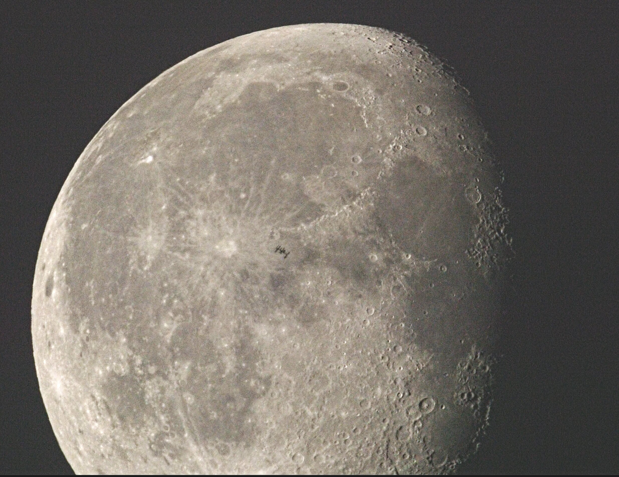 International Space Station in front of the moon, just to the right of the Copernicus Crater. If you are going to photograph a satellite crossing the moon, or even more challenging, one of the planets, you won't need any special filtration.