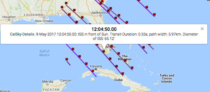 """Above is an example of the data you get for each transit line marker. In this case the ISS will begin its transit of the sun on May 9, 2017 at 12:04:50.00 pm. The transit will last 0.55 seconds, and the transit visibility path is 5.97km wide. The apparent diameter of the ISS will be 65.12"""" (arcseconds). This is a pretty good pass to give us a large object size as the station will be at a distance of 273 miles at the time of transit. This is because we are only one hour and 20 minutes from solar noon, which occurs at 1:24 pm local time. You can find local solar noon for any location at NOAA Solar Calculator."""