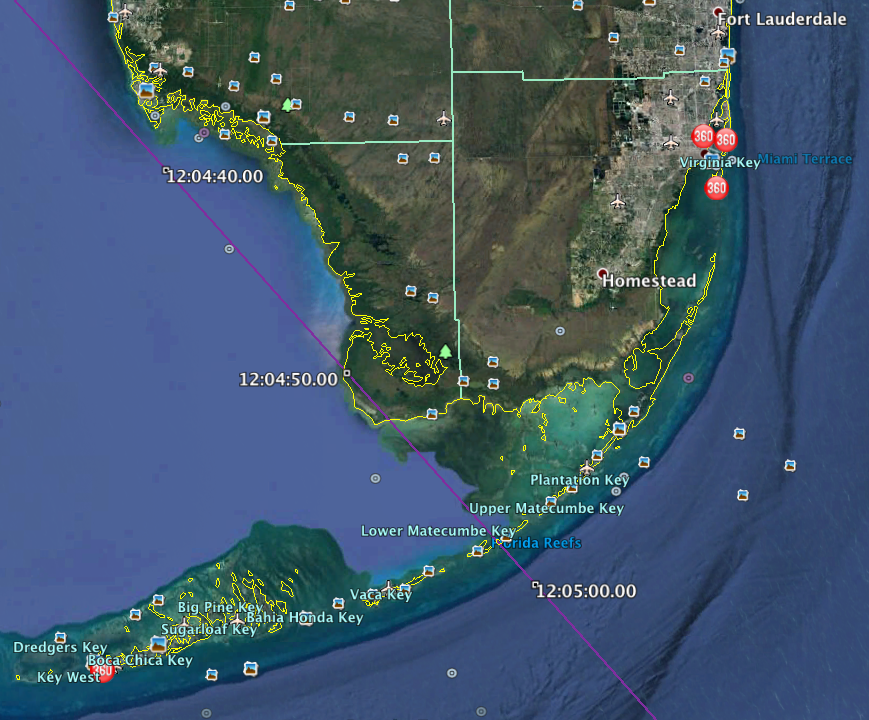 Here is a screen shot of the CalSky kmz data overlaid on the Google Earth image of South Florida. My original choice was the location at 12:04:50:00, but after seeing it on the image here, it's in a fairly inaccessible area of the Everglades, I would opt for the location in the Keys where the transit path crosses US Highway 1 close to Lower Matecumbe Key.