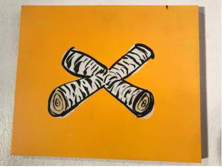 """"""" Logs on Yellow """" acrylic art. $75"""