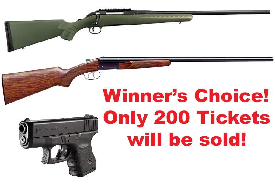 Our members have asked for it, so here it is! The SCI Mississippi Chapter is holding a drawing where the winner will have their choice between:      -A Ruger American Rifle in 6.5 Creedmoor -A Stoeger Uplander Side by Side Shotgun in .410 -A Glock Model 27     We are only selling 200 tickets at $20 each! Contact Bryan Carraway to get your tickets at    carrawaybryan@gmail.com    before they are all gone!