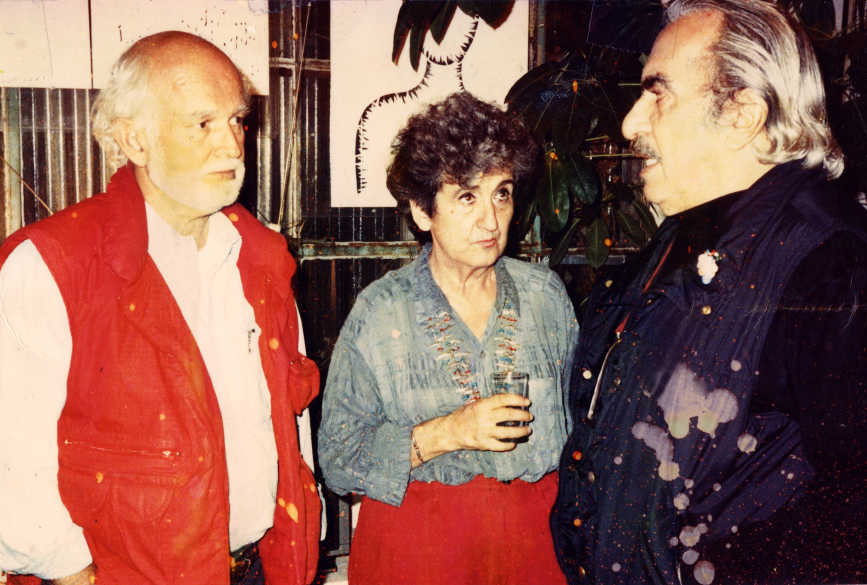 Artists Robert Arneson and Peter Voulkos pictured with Ruth Braunstein, c. 1980