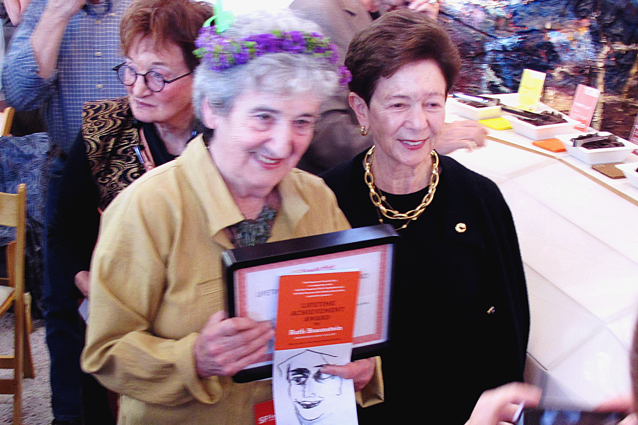 Cissie Swig with Ruth Braunstein receiving ArtCare Lifetime Achievement Award, May 20th 2010.