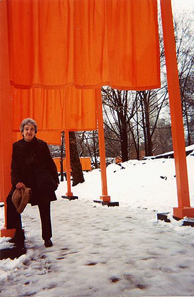 Ruth Braunstein at the Christo Gates, Central Park, New York, 2005